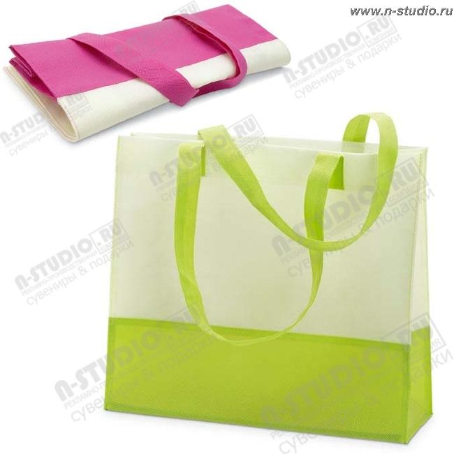 Сумка пляжная зелено-белая сумки подарочные.