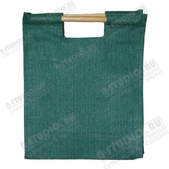 Зеленые сумки из джута с деревянными ручками под логотип.