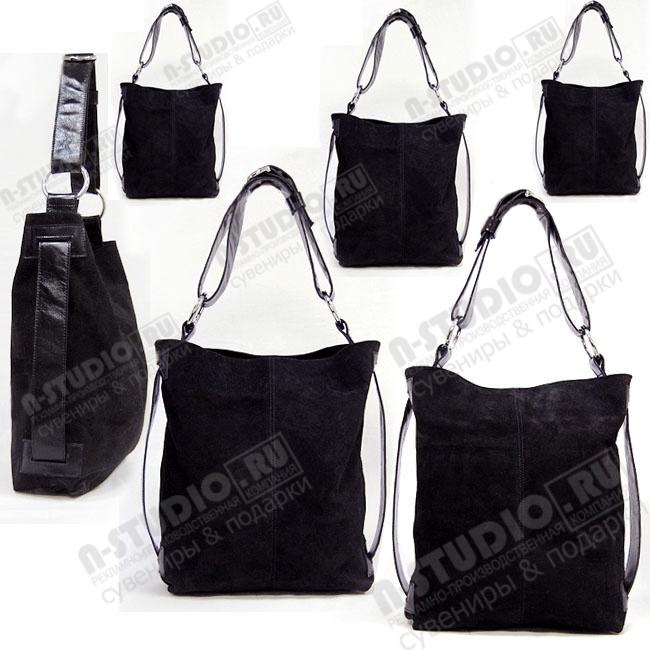 Замшевые сумки черные под нанесение логотипа и символики.