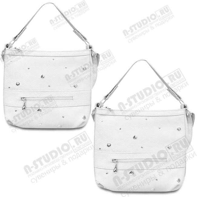 Белые сумки кожаные на длинном ремне под нанесение логотипа.